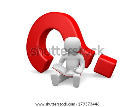 3d small people - sitting next to a question mark  - stock photo
