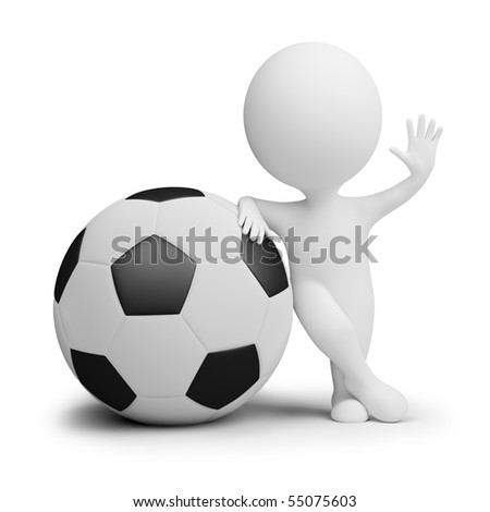 3d small people - soccer player with the big ball in a welcoming pose. 3d image. Isolated white background. - stock photo