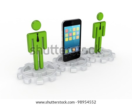 3d small people standing on a gray gears and modern modern mobile phone.Isolated on white background.