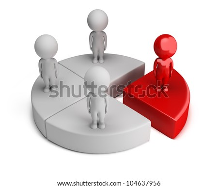 3d small people standing on the chart. 3d image. Isolated white background. - stock photo