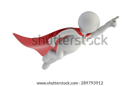3d small people - Super man - stock photo