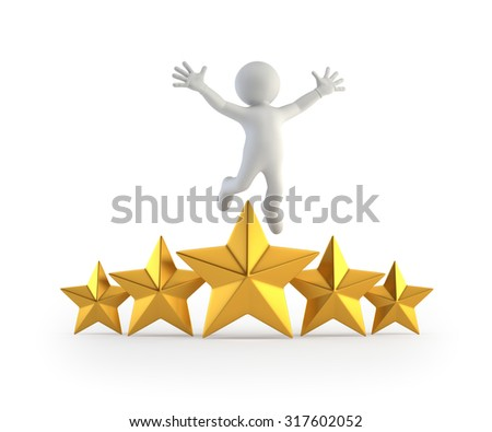 3d small people - superstar - stock photo