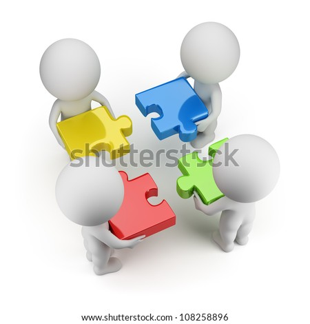 3d small people - team with multi-colored puzzles. 3d image. Isolated white background. - stock photo