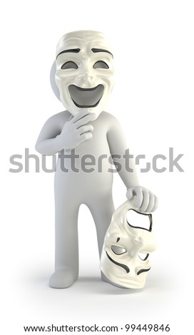 3d small people - theater masks - stock photo