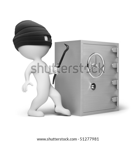 3d small people - thief in a mask with a crowbar in the hands, trying to crack the safe. 3d image. Isolated white background.