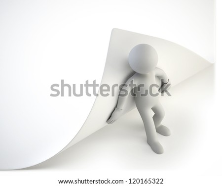 3d small people - try to turn the page - stock photo
