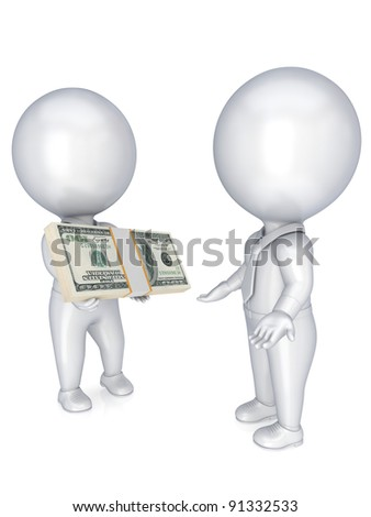 3d small people with a dollar pack in a hands.Isolated on white background. - stock photo