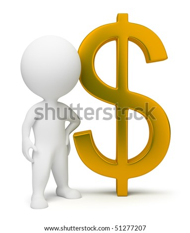 3d small people with a gold dollar sign. 3d image. Isolated white background.