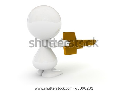 3d small people with a gold key in hands. 3d image - stock photo