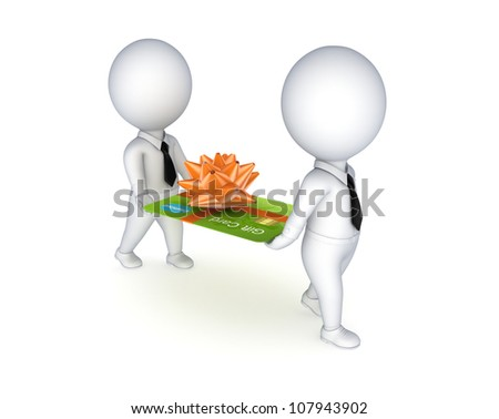 3d small people with a green credit card.Isolated on white background. - stock photo
