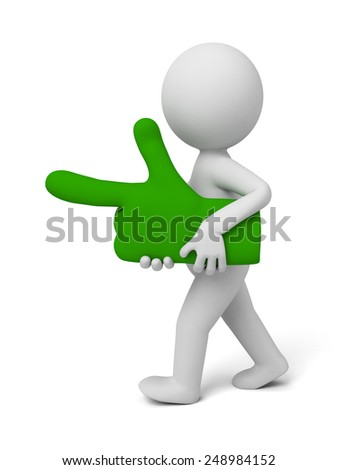 3d small people with a green pointing hand. 3d image. Isolated white background.