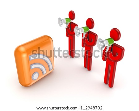 3d small people with a loudspeakers and RSS symbol.Isolated on white background. - stock photo