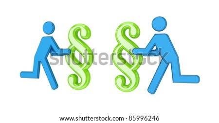 3d small people with a paragraph symbol in a hands.Isolated on white. - stock photo