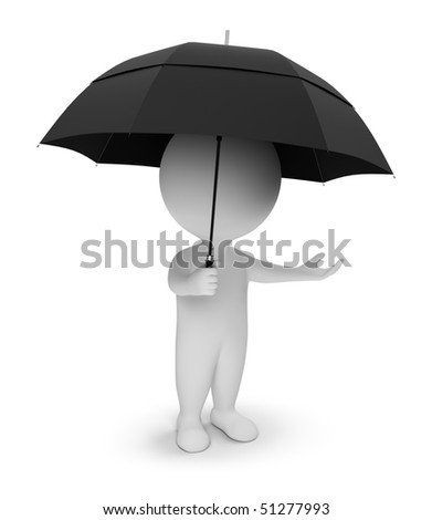 3d small people with a umbrella. 3d image. Isolated white background. - stock photo
