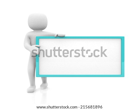 3d small people with an empty signboard in hands. 3d image. Isolated white background.