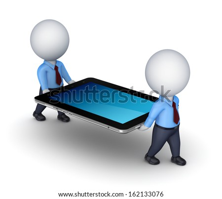 3d small people with tablet PC.Isolated on white. - stock photo