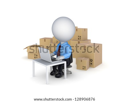 3d small person and carton boxes.Isolated on white background.