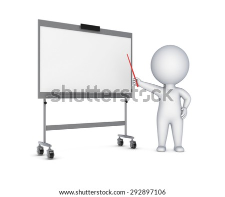 3d small person and flip-chart isolated on white. - stock photo