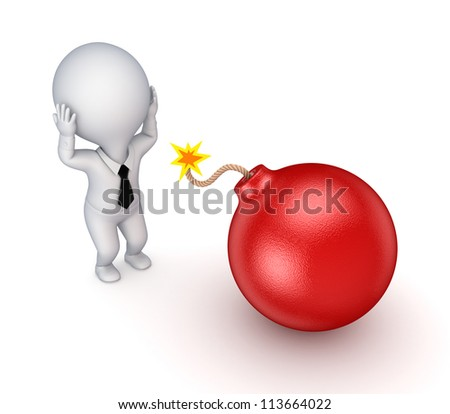 3d small person and red bomb.Isolated on white background. - stock photo