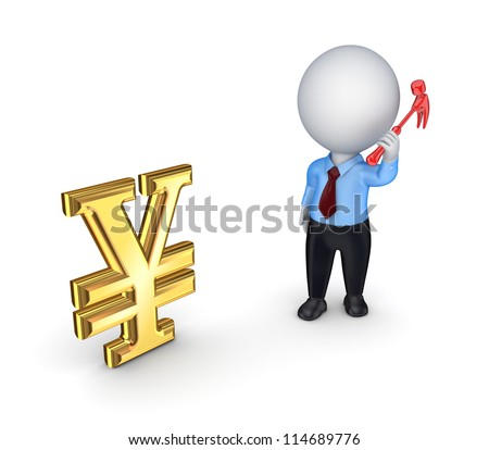 3d small person and yen symbol.Isolated on white background.