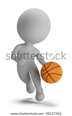 3d small person - basketball player with ball. 3d image. Isolated white background. - stock photo