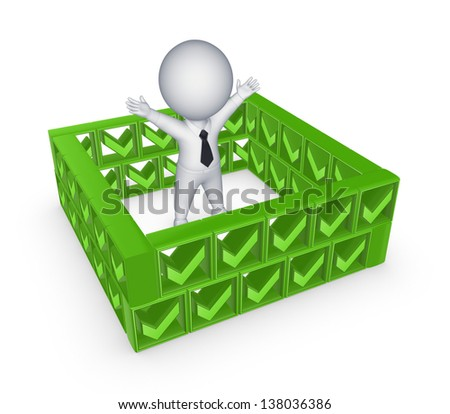 3d small person behind the wall of tick marks.Isolated on white background. - stock photo