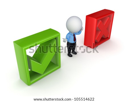 3d small person between tick and cross marks.Isolated on white background.3d rendered. - stock photo