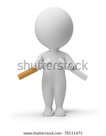 3d small person breaking a cigarette. 3d image. Isolated white background. - stock photo