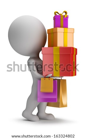 3d small person carries a stack of gifts. 3d image. White background. - stock photo