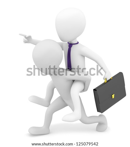 3d small person carries on his back businessman. 3d image. On a white background.