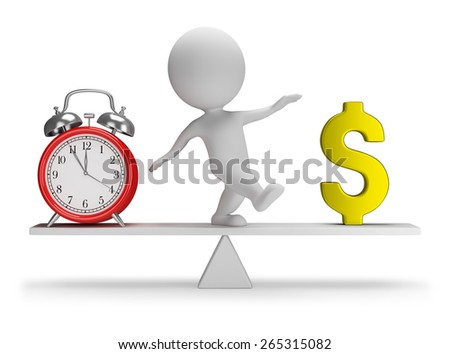 3d small person catches a balance between money and time. 3d image. White background. - stock photo