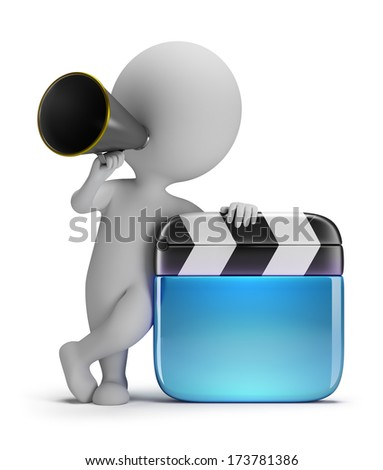 3d small person - director with a clapper and a megaphone. 3d image. White background. - stock photo