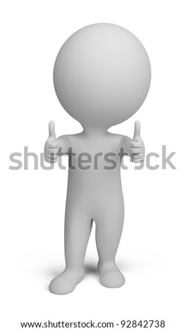 3d small person - double thumbs up. 3d image. Isolated white background.