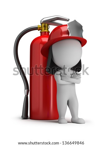 3d small person - fireman standing next to a large extinguisher. 3d image. White background. - stock photo