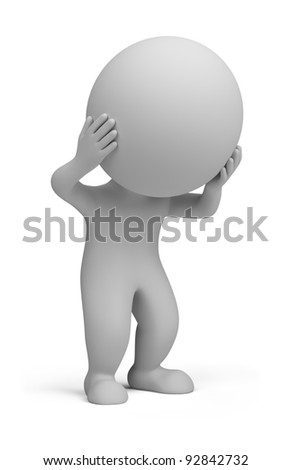 3d small person holding his head with his hands. 3d image. Isolated white background. - stock photo