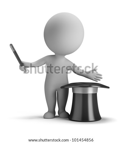 3d small person illusionist make tricks with magic hat . 3d image. Isolated white background. - stock photo