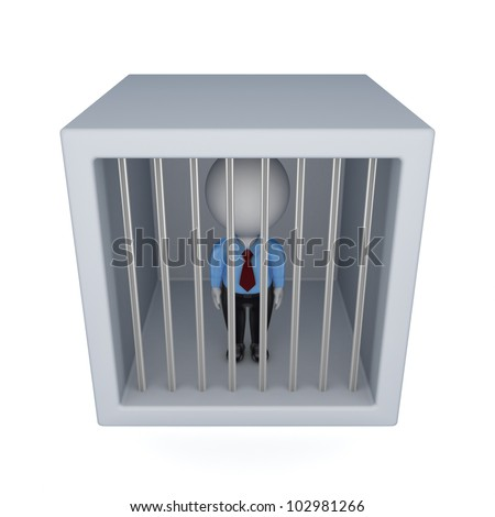 3d small person in a jail.Isolated on white background.3d rendered. - stock photo