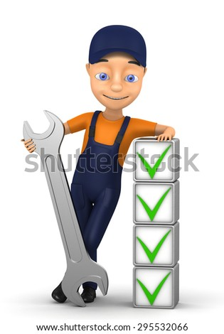 3d small person in a workwear Isolated on white - stock photo