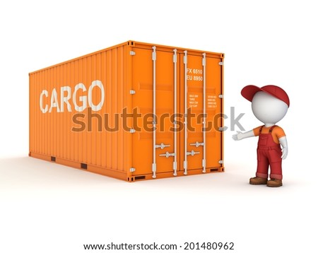 3d small person in a workwear near container. - stock photo
