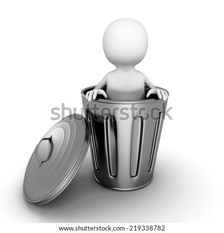 3d small person in metallic trash can. 3d render illustration - stock photo