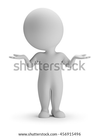 3d small person in the perplexity pose. 3d image. White background.