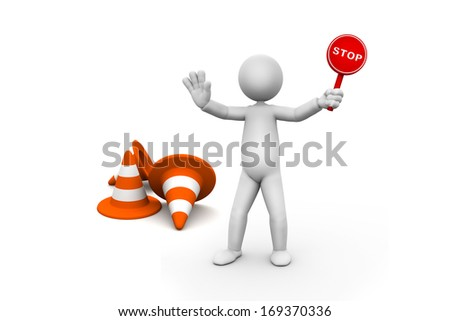 3d small person in the stop position, close to the limit stop. Stop - stock photo