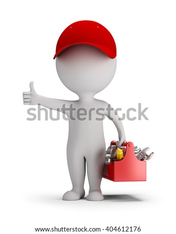 3d small person - mechanic with tool box. Thumb up. 3d image. White background. - stock photo