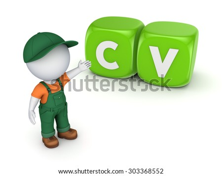 3d small person near word CV. - stock photo