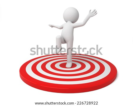 3d small person on a big target. 3d image. Isolated white background - stock photo