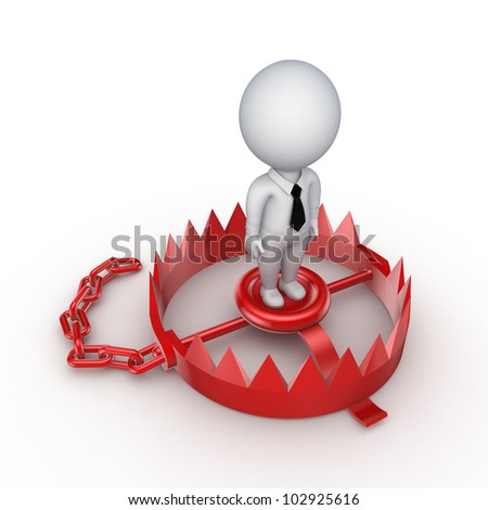 3d small person on a red trap.Isolated on white background.3d rendered. - stock photo