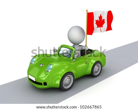 3d small person on orange car with Canadian flag.Isolated on white background.3d rendered.