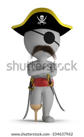3d small person - one-legged pirate hat, and with swords. 3d image. Isolated white background. - stock photo