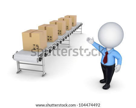 3d small person points to the conveyor with carton boxes.Isolated on white background.