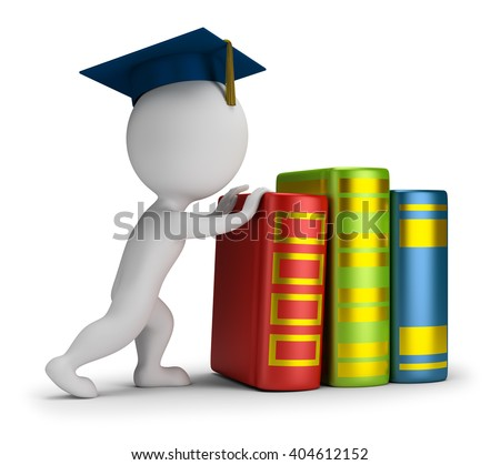 3d small person pushes heavy books. 3d image. White background.